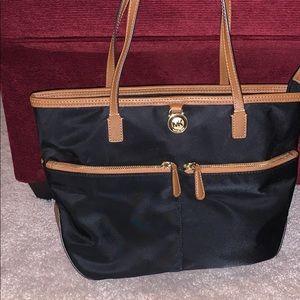 MK Black Nylon Bag w/ Brown Leather Details